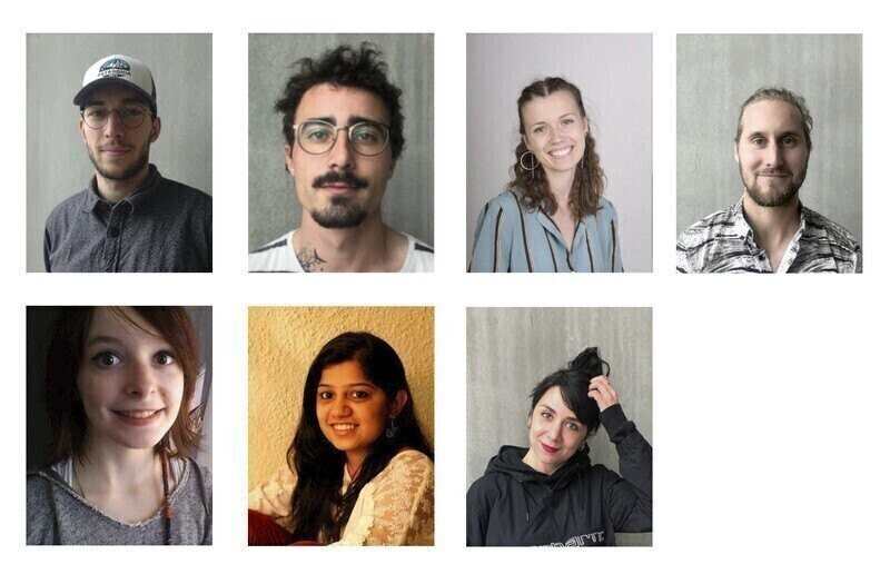 Retrato de Jason Mégrelis, Sylvan Charmasson, Charlotte Dudzicki, Kévin Lagrue, Marion Légier, Hradini Parikh, Léa Zafrilla